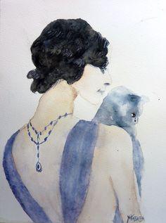 Γγρ│ Aquarelle d'une belle femme avec son chat chartreux dans les bras : Peintures par yokozaza