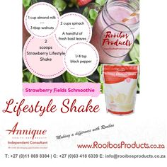 Annique Lifestyle Rooibos Lifestyle Shake is a delicious supplement drink with essential vitamins and minerals to boost energy, and curb cravings. Strawberry Smoothie, Strawberry Fields, Fresh Basil Leaves, High Cholesterol, Herbal Tea, Food Cravings, Vitamins And Minerals, Shake, Health And Beauty