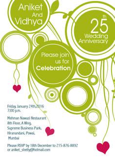 bubble & heart themed 25th wedding anniversary invitation from inviteonline