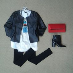#Lookoftheday!!! @blaquelabel leather crop jacket, @sachinandbabi Crest tunic in ivory,@spanx leatherlike leggings, @zenzii multi tassel neckpiece, @bcbgmaxazria poppy Downtown Days clutch, and @sam_edelman Fairfield black bootie.#lovinleather, #tunictalk #ontheedge #aboutalook #shoplocal #ootd Read more at http://websta.me/n/effiesinc#0fYB2VV9wuJMYcIm.99