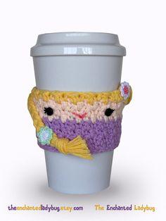 Crochet Rapunzel Coffee Cup Cozy by TheEnchantedLadybug on Etsy, $16.00