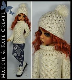 """FALL / WINTER Cream Outfit for Kaye Wiggs 18"""" MSD BJD by Maggie & Kate Create"""