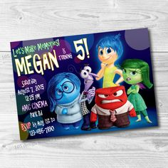 Printable Inside Out Party Invitation  Inside by 105DesignHouse