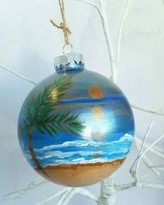 Your place to buy and sell all things handmade Beach Ornaments, Glass Ornaments, Palm Trees Beach, Vacation Memories, Ocean Sunset, Shades Of Gold, Mermaid Art, Beach Themes, Christmas Bulbs
