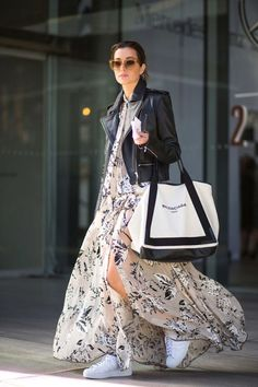 Brand-Store | Edit: trend alarmı şifon Elbise Deri Ceket