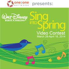 #DisneySingIntoSpring video contest with @One2One Network is on now thru 4/18 - Enter & you can win Four 3-Day Park Hopper tickets to Disneyland or Walt Disney World FL or great Disney music! Find all the details at One2One Network's Facebook Page.