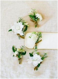 small white flower boutonnieres with textural greens for groomsmen. Will include blue/ slate gray eucalyptus foliage to compliment bridesmaids bouquet