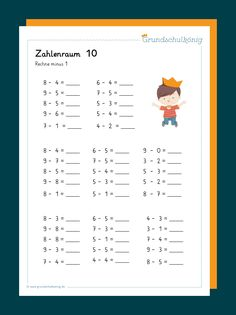 A subtraction task at number 10 for mathematics in grade in primary school Thinking Skills, Critical Thinking, Educational Activities, Preschool Activities, Primary School, Elementary Schools, Number 10, Arithmetic, Home Schooling