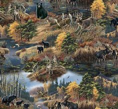 Woodland Animal Cotton Fabric! Deer, Elk, Moose, Bison, Buffalo, Bear, Wolves #SpringsCreativeElizabethsStudio