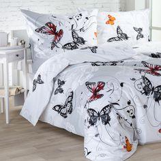 Bavlněné ložní povlečení Butterfly - Bavlněné ložní povlečení Butterfly se svým romantickým ztvárněním dokonale hodí do každé ložnice. Toto povlečení ze 100% bavlny se vyznačuje kvalitním potiskem a p