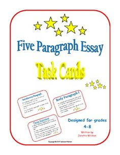 Five Paragraph Essay Task Cards provide students with a guide and a checklist for following the appropriate format for the conventional five paragraph essay. Print, cut out, and laminate the cards for multiple uses. Laminated cards allow for check marks to be placed in the appropriate boxes using a dry or wet erase marker, as the students complete each task for their essay.