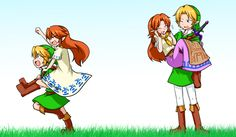Through the years, Malon and Link, The Legend of Zelda series artwork by Katsumi5o.