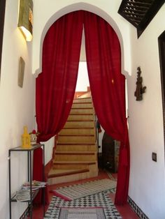 Kinda love the curtains separating the foyer from the house. From a real estate listing in Marrakech