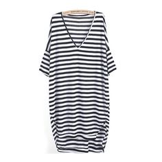 SheIn(sheinside) Black White Striped V Neck Loose Dress ($9.99) ❤ liked on Polyvore featuring dresses, vestidos, black, half sleeve dress, striped dress, short dresses, loose dress and black v neck dress