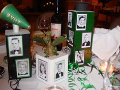 Reunion Table Decoration Ideas |   take our senior photos and make cubes- maybe use the balloons in the center?