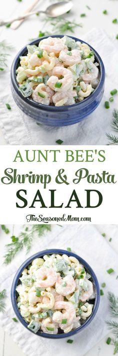 Aunt Bee's Shrimp and Pasta Salad! Pasta Salad Recipes | Pasta Recipes | Potluck Recipes | Potluck Dishes | Shrimp Recipes | Salad Recipes