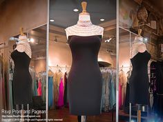 This classy black dress has a high neckline and cap sleeves completely covered with crystal details. Made from stretch jersey, the pencil skirt sports a back zipper. Super elegant and it's at Rsvp Prom and Pageant, Atlanta, Georgia!