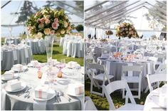 Neutral, grey linens with touch of color in favors and flowers--more orange/coral