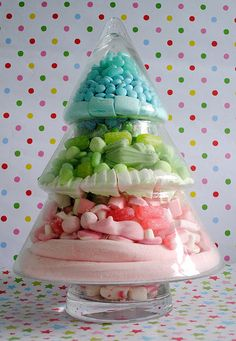 Large Candy Christmas tree jar by Torie Jayne candy trees, christma tree, christmas candy, pink christma, christma candi, candi jar, christmas trees, candy jars, the holiday