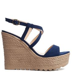 Blue platform with suede texture and wedge with woven look. Features crossed straps and fastens with adjustable ankle strap.