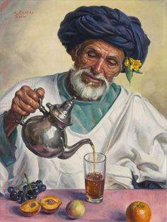 Louis Endres - Tea time, oil on canvas, 64 x 48 cm. Islamic Paintings, Indian Art Paintings, Modern Art Paintings, Arabian Art, Moroccan Art, Cottage Art, Africa Art, Historical Art, Egyptian Art