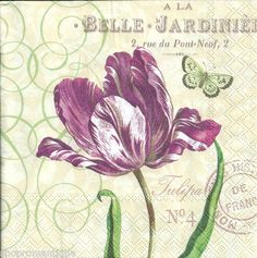 4 x Single Paper Napkins Vintage Style Tulipa Tulips Floral Decoupage Set   eBay