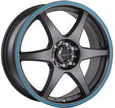Street Gear wheels.CA  Top Gear gunmetal with blue stripe wheel