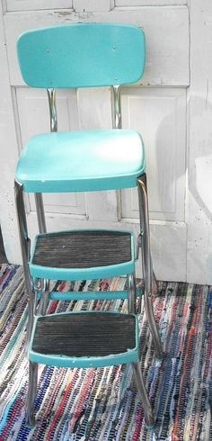 Vintage Turquoise And Chrome Cosco Like Chair With Step Stool Mid Century Shabby…
