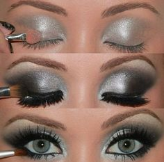 Silver & black smokey eyes Pretty much how I do my eye make up everyday lol Smokey Eyes Tutorial, Eye Tutorial, Photo Tutorial, Eyebrow Tutorial, Beauty Make-up, Beauty Hacks, Hair Beauty, Beauty Tips, Beauty Night