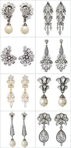 Explore Thomas Laine's  collection of bridal earrings for your wedding day. Choose from chandelier earrings, drop earrings, and studs, available with pearls.