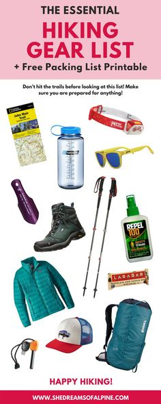 Hiking doesn't need to be overwhelming! In this post I've created a comprehensive packing list for essential hiking gear. Post includes free gear list printable for easy reference. Hiking Gear List, Hiking Tips, Camping And Hiking, Camping Gear, Winter Camping, Hiking Gear Women, Camping Hammock, Alaska Camping, Camping Cot
