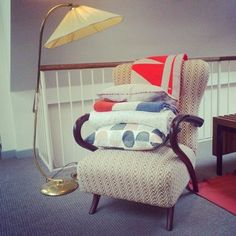 Vintage lamp, Maria La Rosa handwoven chair, Mae Engelgeer, Lucky Boy Sunday, Kauniste homeware  @Couverture's Instagram photos Lucky Boy, Objects, Homes, Bed, Pretty, Room, Furniture, Vintage, Instagram