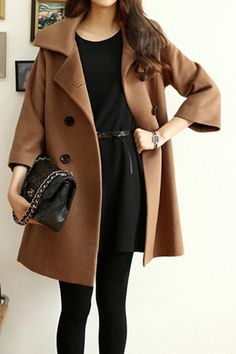 Vintage Lapel Double-breasted Coat