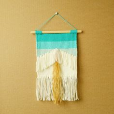 Geometric Hand Woven Boho Weaving Wall Hanging with Turquoise Ombre Effect by ALIFERA on Etsy
