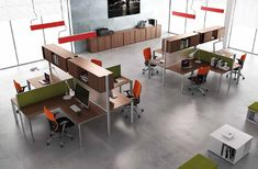 Workstation with partitions Office Space Design, Modern Office Design, Office Interior Design, Office Interiors, Office Fit Out, Office Plan, Open Office, Cubicle Design, Office Dividers