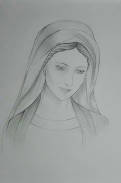 Jesus Drawings, Pencil Art Drawings, Art Drawings Sketches, Easy Drawings, Christian Drawings, Christian Art, Blessed Mother Mary, Blessed Virgin Mary, Virgin Mary Art