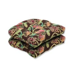 Pillow Perfect Wicker Seat Cushion with Sunbrella Vagabond Paradise Fabric Set of 2 ** To view further for this item, visit the image link.