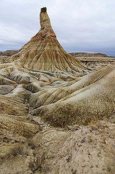Castillo de tierra. Formación rocosa. Bardenas Reales. UNESCO biosphere reserve, Navarre, Spain