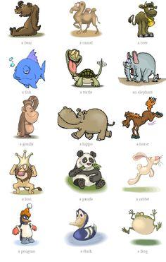 동물들의 영어 이름을 알 수 있는 자료이다. 저학년의 학생들은 동물에 관심이 많기 때문에 흥미로워할 것이다. 귀여운 일러스트들이 함께 있어 쉽게 기억할 수 있다는 장점이 있다.