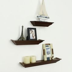 Furnistar Decorative Home Decor Walnut Color Wood Floating Wall Shelves