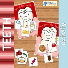 This colorful sorting activity allows students to sort foods into two groups, good for teeth and not good for teeth. Two base boards (a happy tooth and a sad tooth) and 12 food cards are included in this set. Perfect for a unit on teeth or dental health.