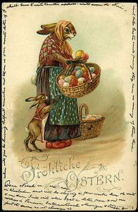 1901 german frohliche ostern easter postcard mother baby rabbit egg baskets easter printableseaster