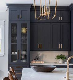 These cabinets and the amazing Midnight Blue color! It's Cyberspace SW 7076 - because I know you're going to ask! Outdoor Kitchen Design, Home Decor Kitchen, Kitchen Interior, Black Kitchens, Home Kitchens, Blue Kitchen Cabinets, Upper Cabinets, Kitchen Jars, Grey Cabinets