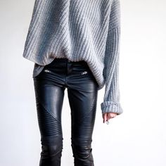"""Erica Hoida • FashionedChic on Instagram: """"OOTD Sweater and leather...forever. These happen to be faux.    outfit details in the 'Daily Details' section of the blog (www.FashionedChic.com/DailyDetails) or via email when you sign up with @liketoknow.it then like this pic. www.liketk.it/24sly"""""""