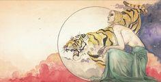 Trabalho de encarte do álbum Pilgrimage para Din Rose - ilustração por G. Pawlick em grafite e aquarela com finalização em digital art