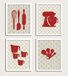 Kitchen Artwork Print Set - Bakers Kitchen Set of 4- 5X7 Inches, Gift for Cooks, Baking prints, House warming gift, Hostess
