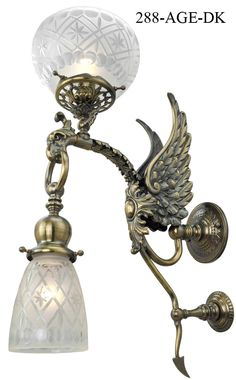 Antique and Vintage Reproduction Victorian Phoenix Bird Transitional Sconce C1890 (288-AGE-ES), Vintage Figural Wall Lights, Circa 1870-1890