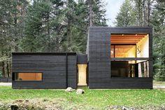 Black stained cedar siding on Washington state home.