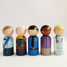 Set of 5 female community helpers // peg dolls with felt sleeping bag // wooden peg dolls - wooden toys (40.00 USD) by PegandPlum
