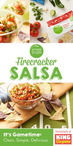 Firecracker Salsa and Chips Set your salsa apart with a spicy kick from jalapeño peppers! Served with blue and white corn tortilla chips, this patriotic-looking appetizer is perfect for summer soirées. Copycat Recipes, New Recipes, Snack Recipes, Cooking Recipes, Favorite Recipes, Yummy Recipes, Health Recipes, Snacks, Guacamole